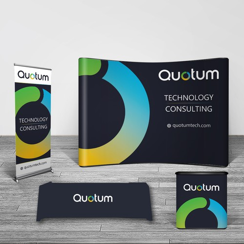 Create a eye-catching trade show booth design for a modern recruiting IT firm