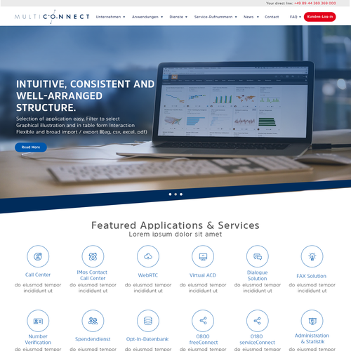 Clean website design for telecomunication company