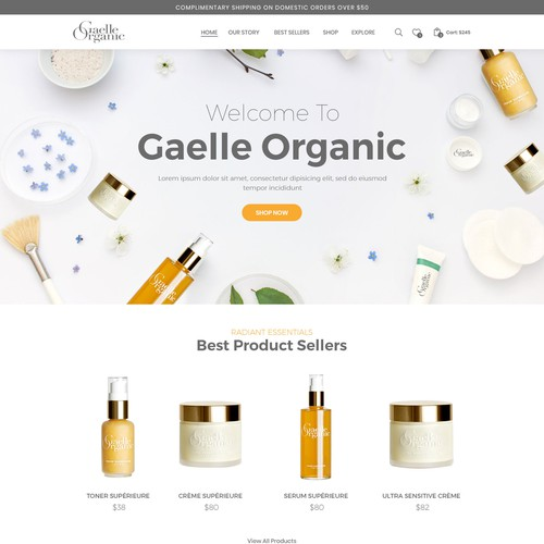 Organic skincare brand looking for a new high converting design