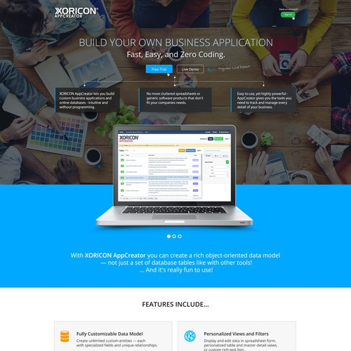 Landing page concept for XORICON.