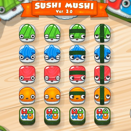 iconic characters for sushi mushi app