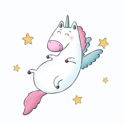unicorn illustration for tote bag