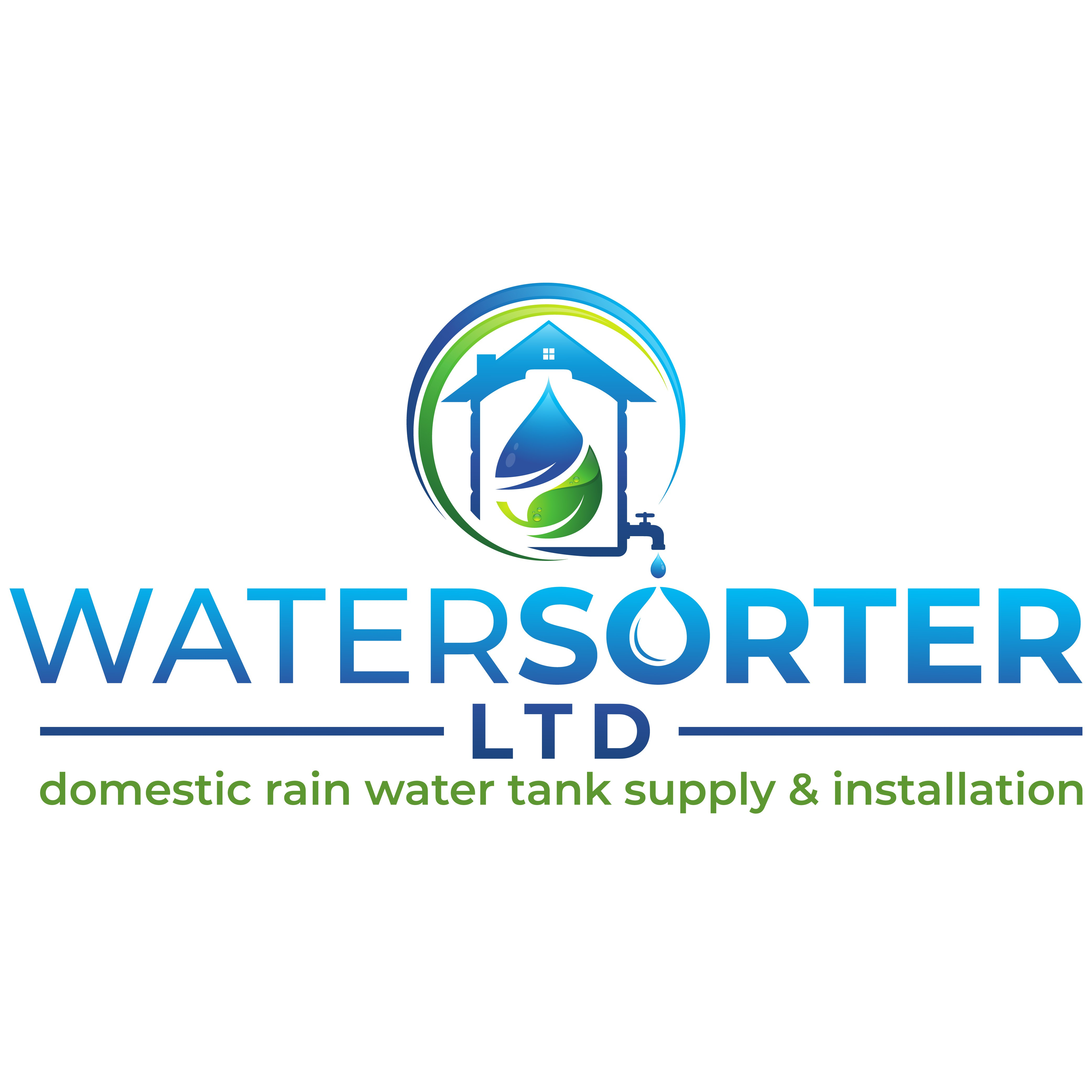 Design a catchy logo somehow detailing home rain water tank benefits.