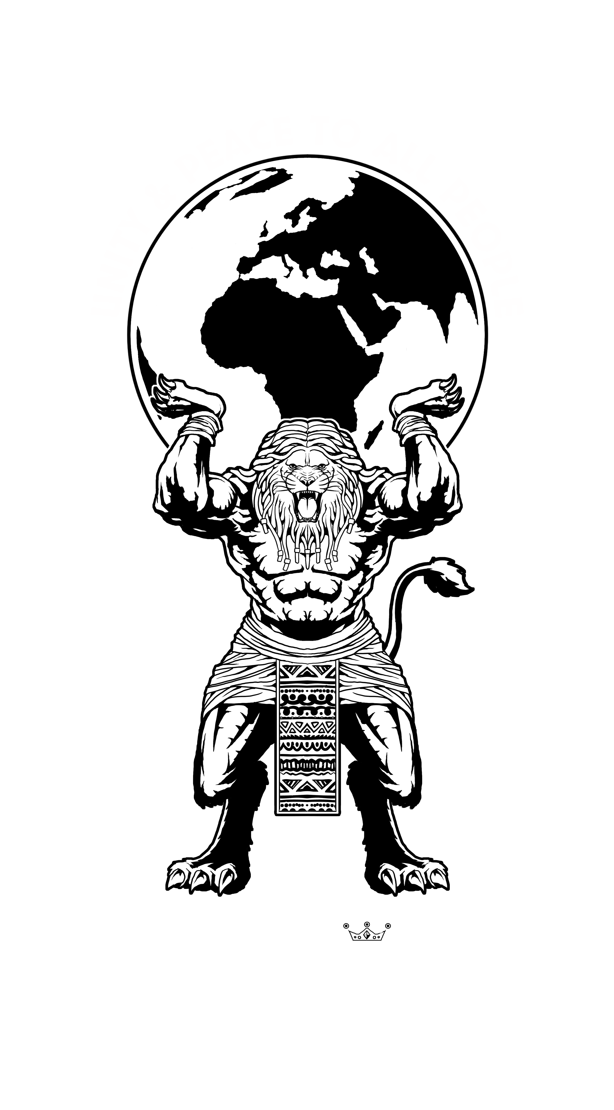 Create a powerful logo depicting a lion with a dreadlock main holding the Earth on his shoulders for Children of Zion!