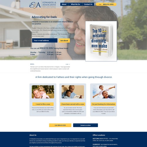 Create landing page for top divorce attorney's ebook