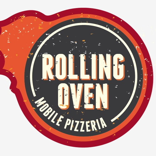 Rustic, industrial logo for Rolling Oven