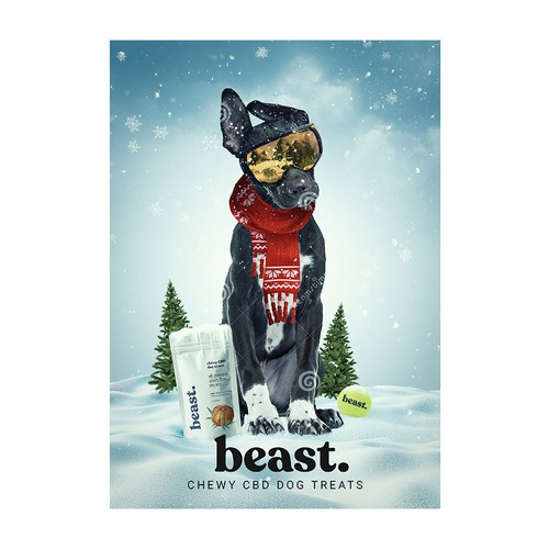 Holiday themed Poster for Beast CBD Dog Treats