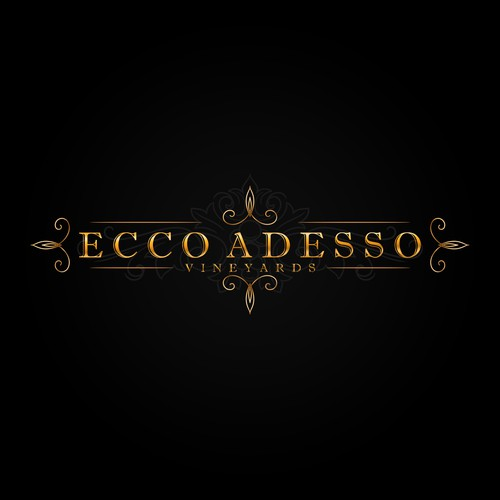 "Simple and Luxurious logo design for ""Ecco Adesso"" vineyards."