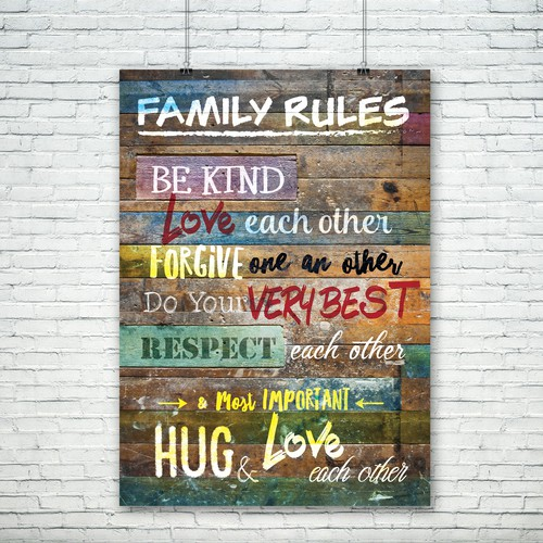 Family rules poster canvas art