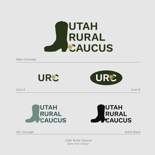 Logo:: Utah Rural Caucus (Green/Pale Gold)