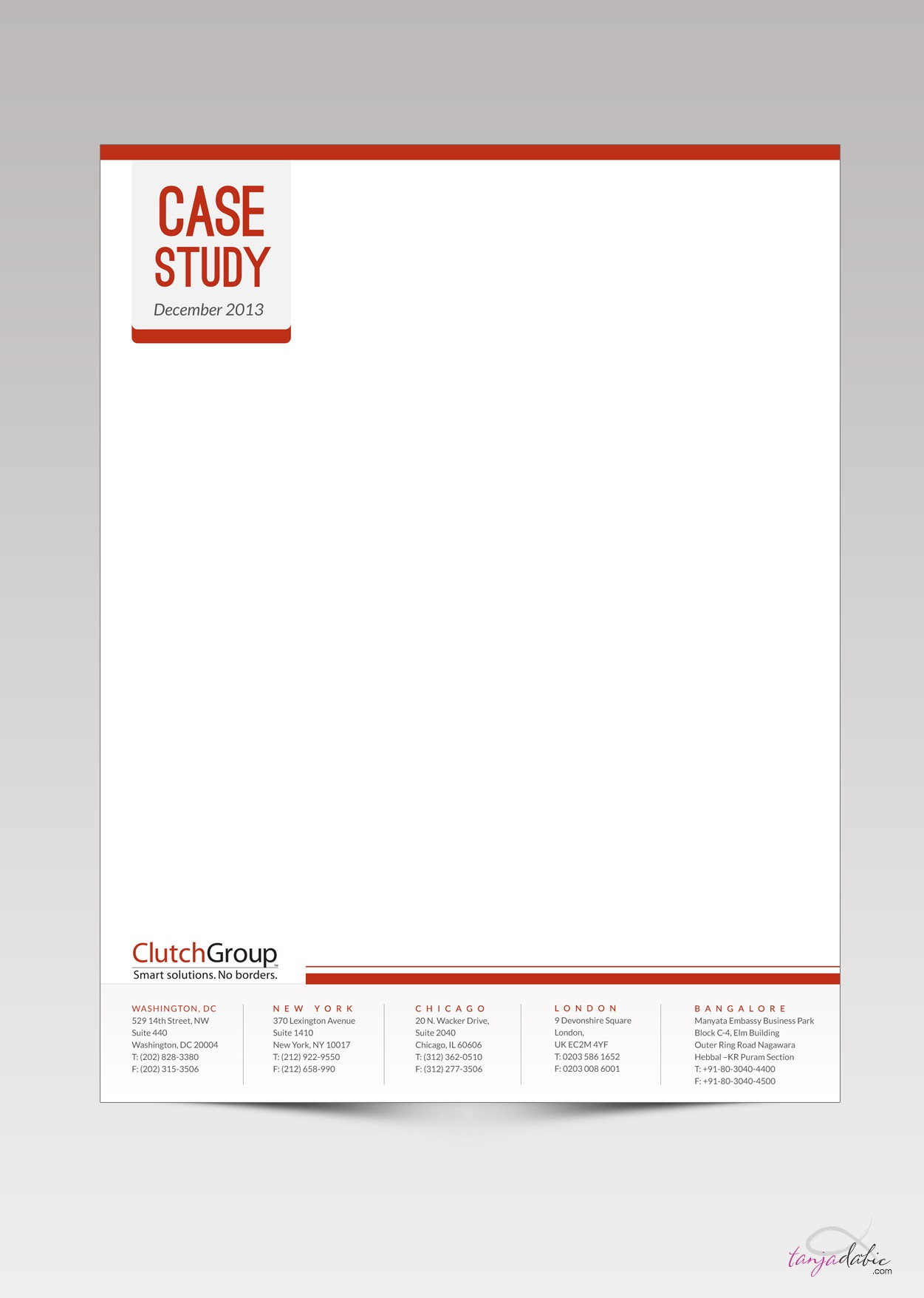 Case Study Template needed for Clutch Group