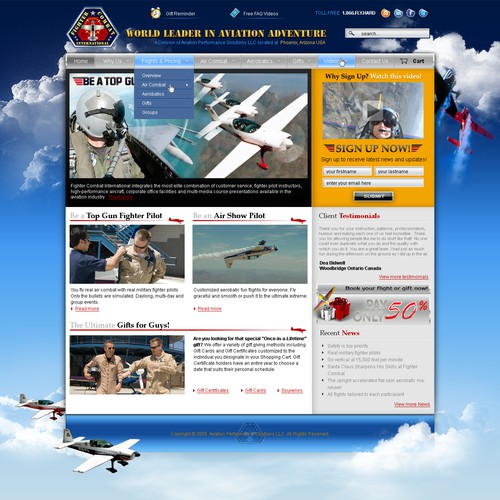 Extreme Aviation Adventure - Custom Design to Wordpress Theme