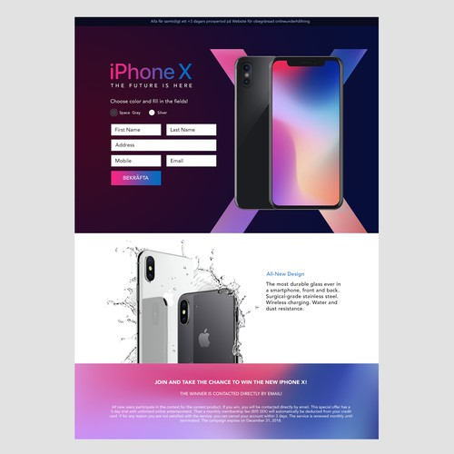 Promotional Landing page for iPhone X