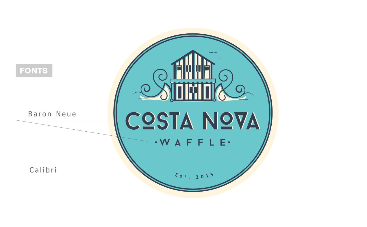 Create a modern vintage logo for a euro style beach city favorite sweet treat