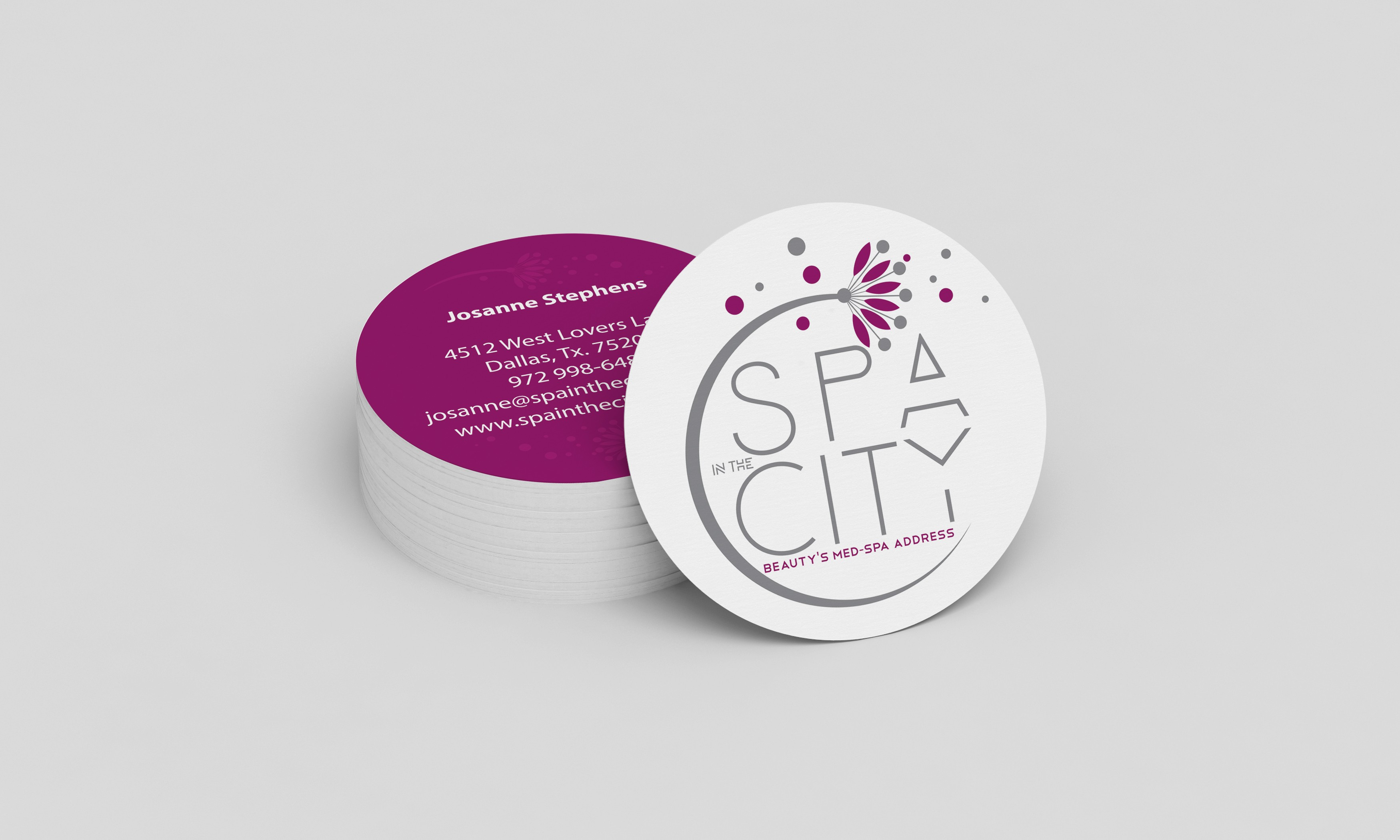spa in the city business card with new logo