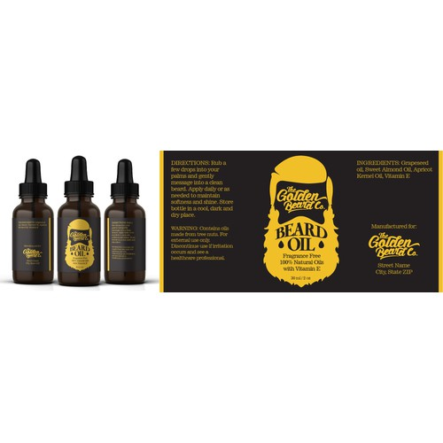 simple & retro beard oil label