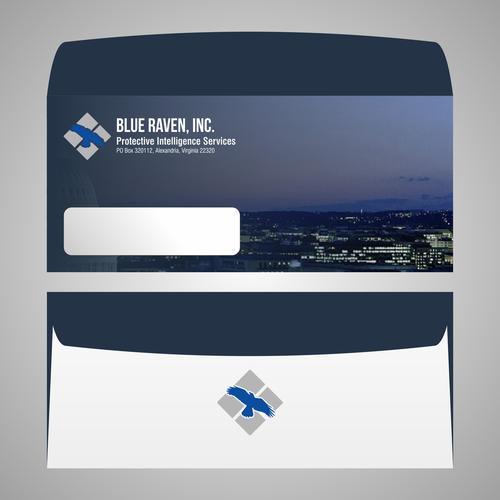 High Resolution Blue Raven logo, Letterhead and Envelope
