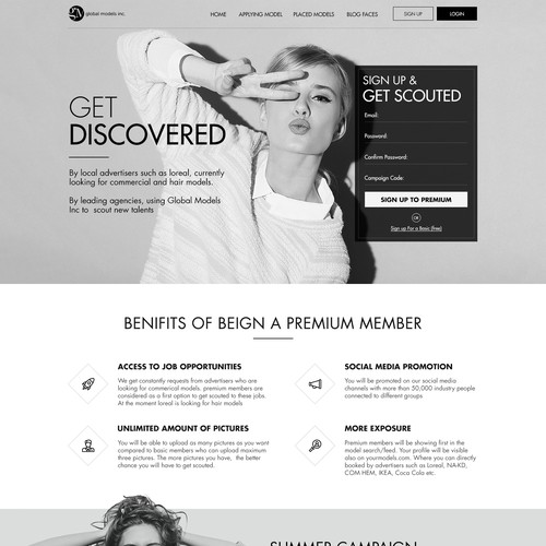Landing page design for Fashion Global Inc.