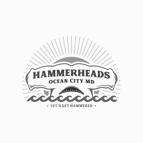 "Youthful and bold logo concept for ""HAMMERHEADS"" bar & grill"