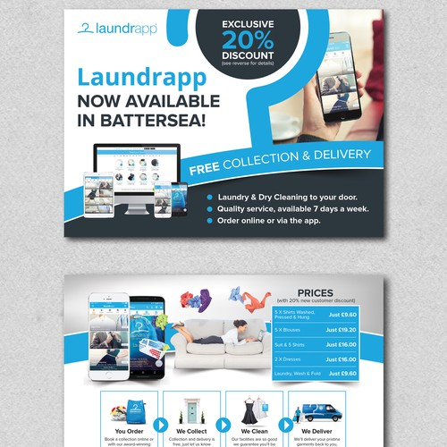 Postcard design for laundrapp