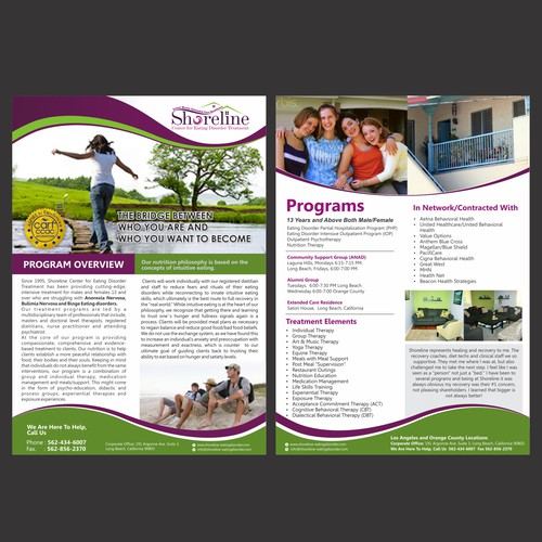 Eating Disorder Treatment Center flyer, 2 sided - winner will get 3 more flyers to do