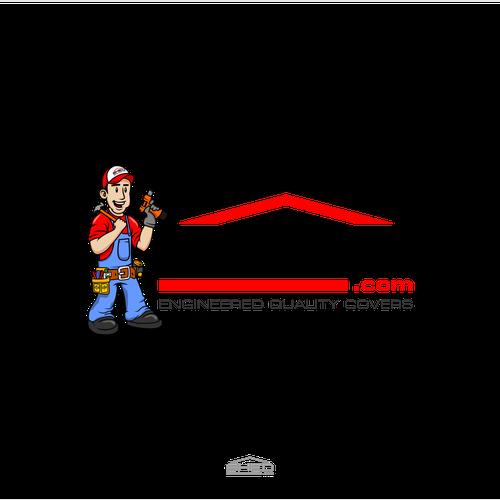 Cartoon handyman mascot/character for a cover maker company