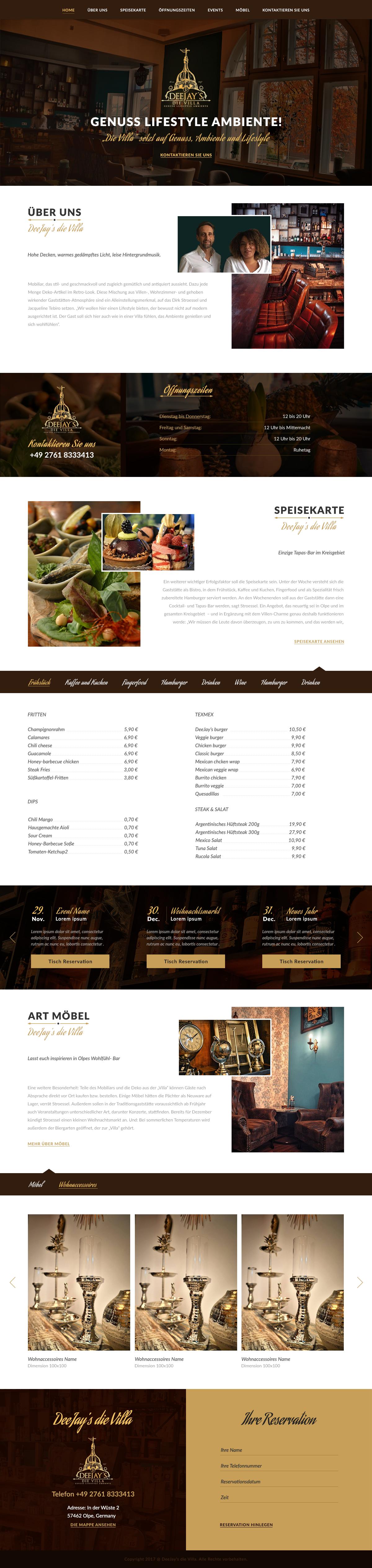 Website für ausergewöhnliches Hybrid Model Gastro & Handel