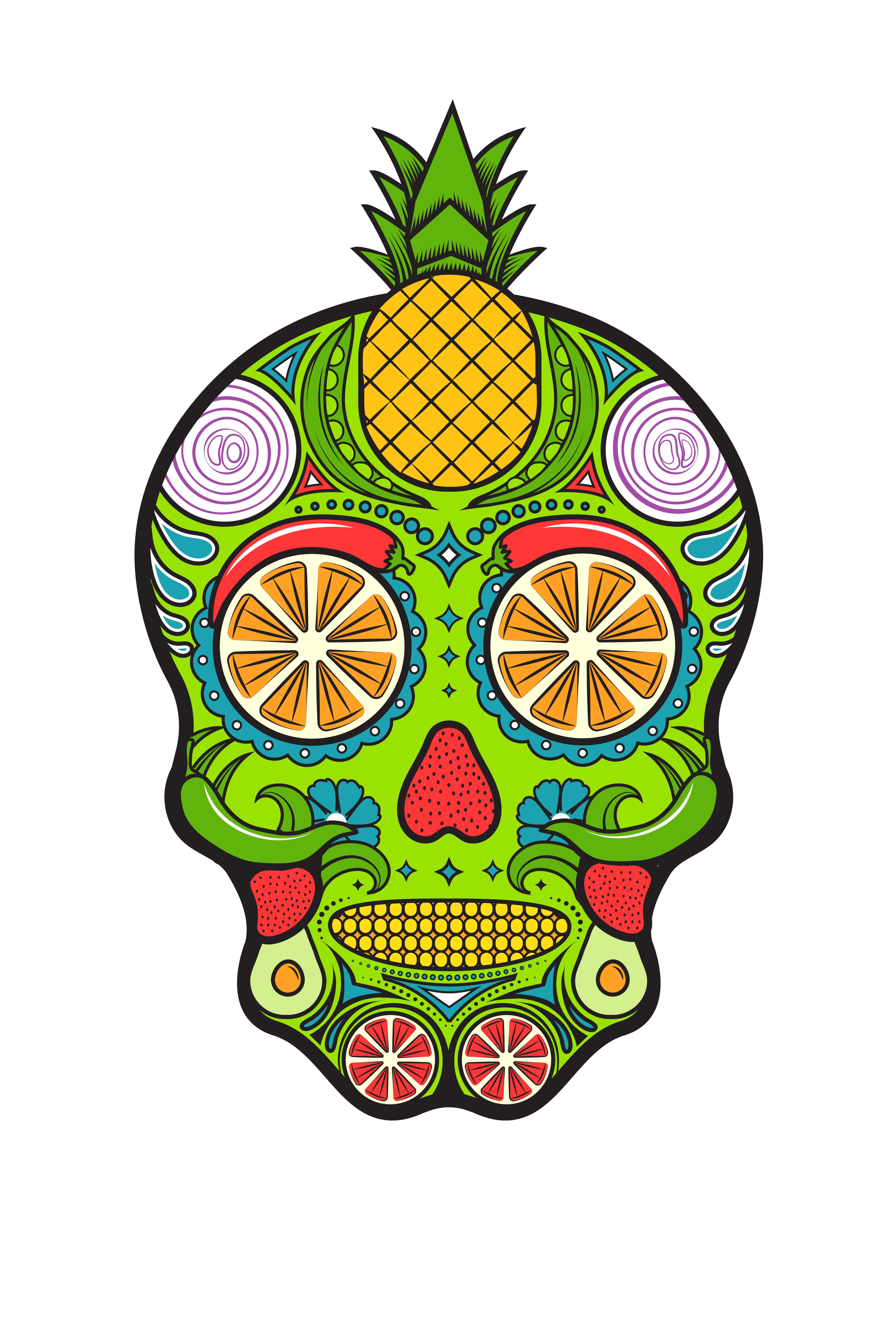 Sugar Skull made out of Fruits and Vegetables for our annual employee T-shirt