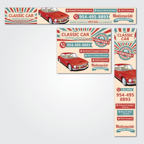 Classic Car Shipping Service Banner Ads