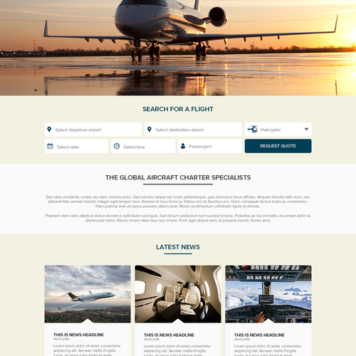 Homepage for a Private Jet and Helicopter Charter company