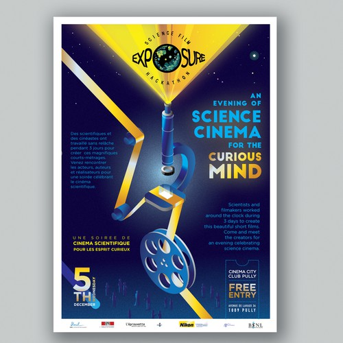 Poster for an event with movies on science.