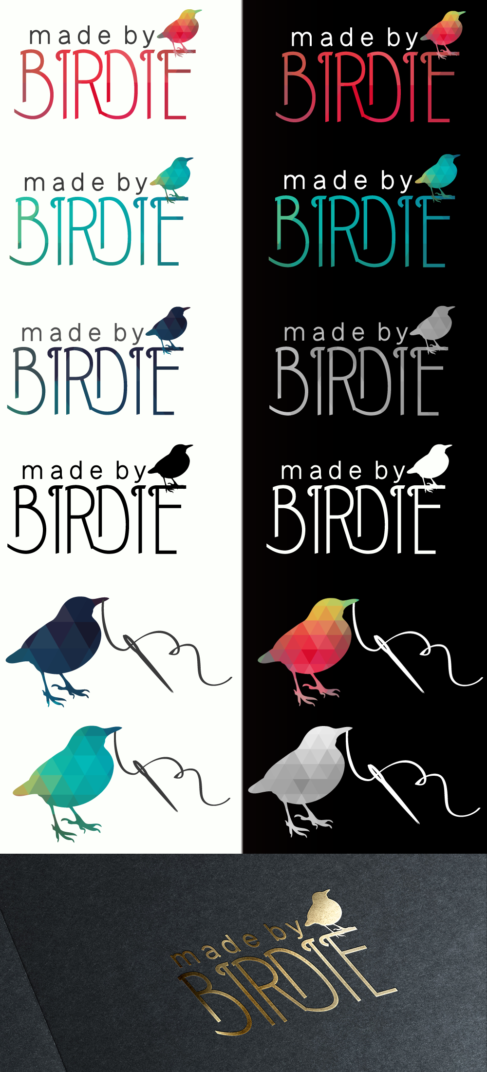 Design a logo for a fun and colourful handmade product brand called Made By Birdie