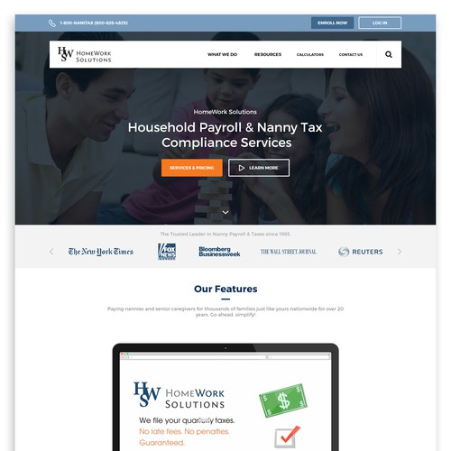 Nanny Tax Software Solution Landing Page