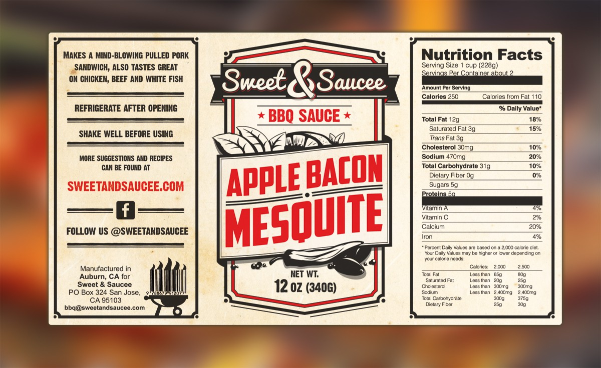 Help Reinvent Sweet and Saucee Gourmet Sauce Labels!