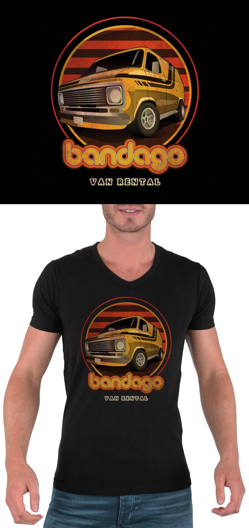 Create vintage 70's van t-shirt for van rental company Bandago
