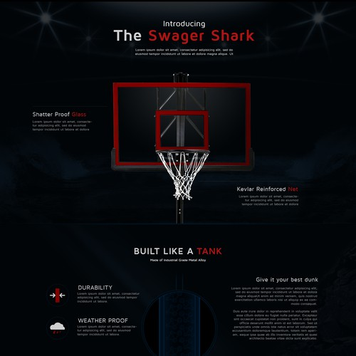 A homepage design for a company that sells basketball equipment