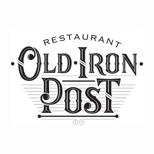 """Create a logo for a restaurant & bar (""""Old Iron Post"""") located in a historic downtown location."""