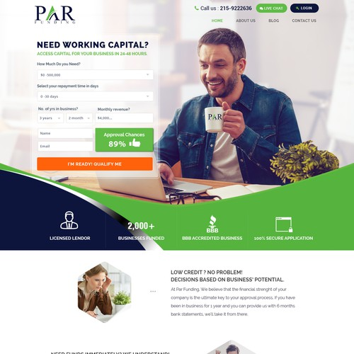Landing page for small Business Loan