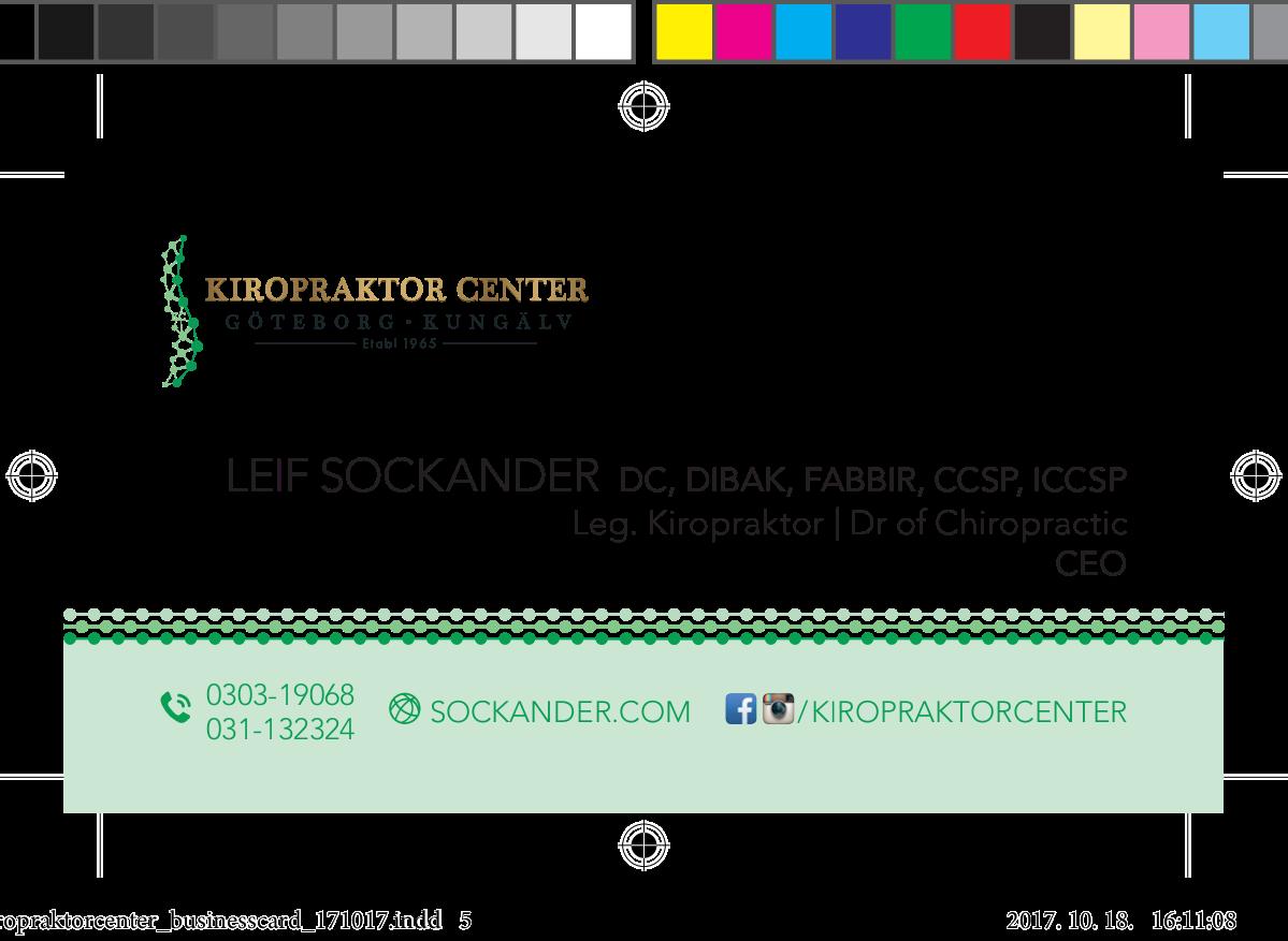 Business cards for Kiropraktor Center