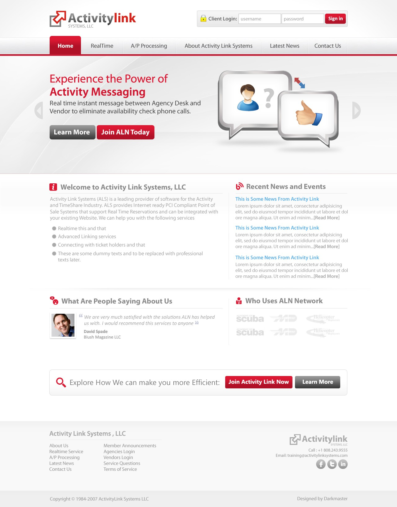 Create the next website design for Activity Link Systems, LLC