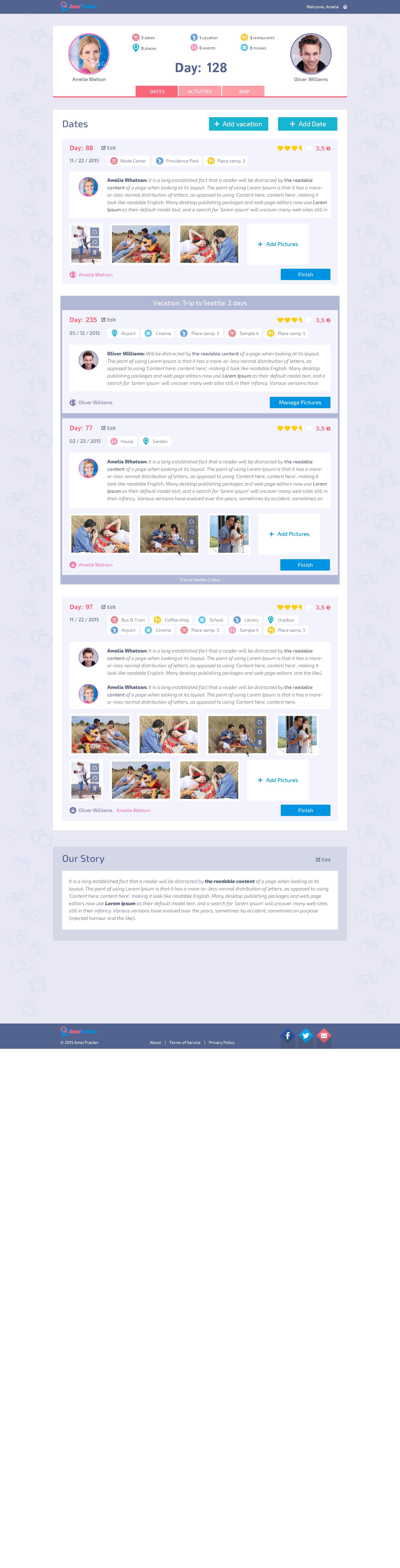 AmorTracker website redesign