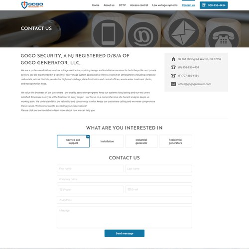 Contact page concept