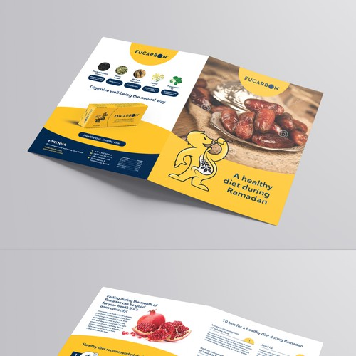 Design a promotion handout of a plant based product with tips for Ramadan