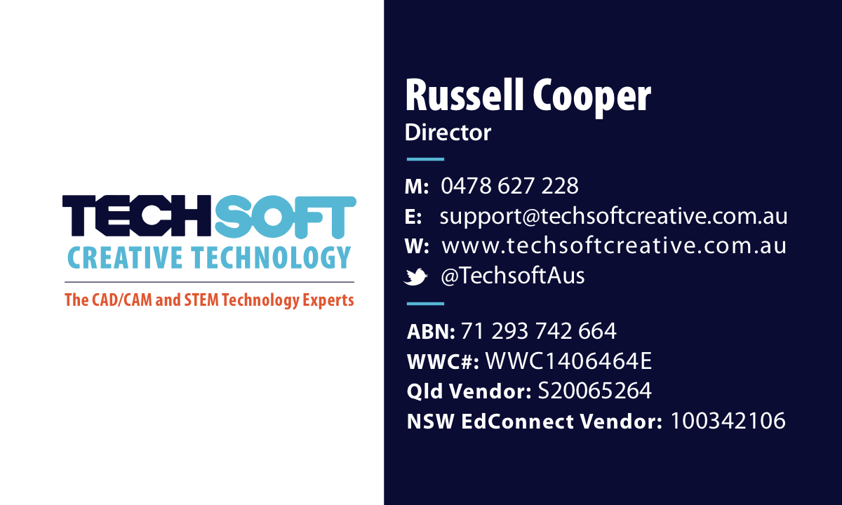 Business card for TechSoft Creative Technology (in Australia)