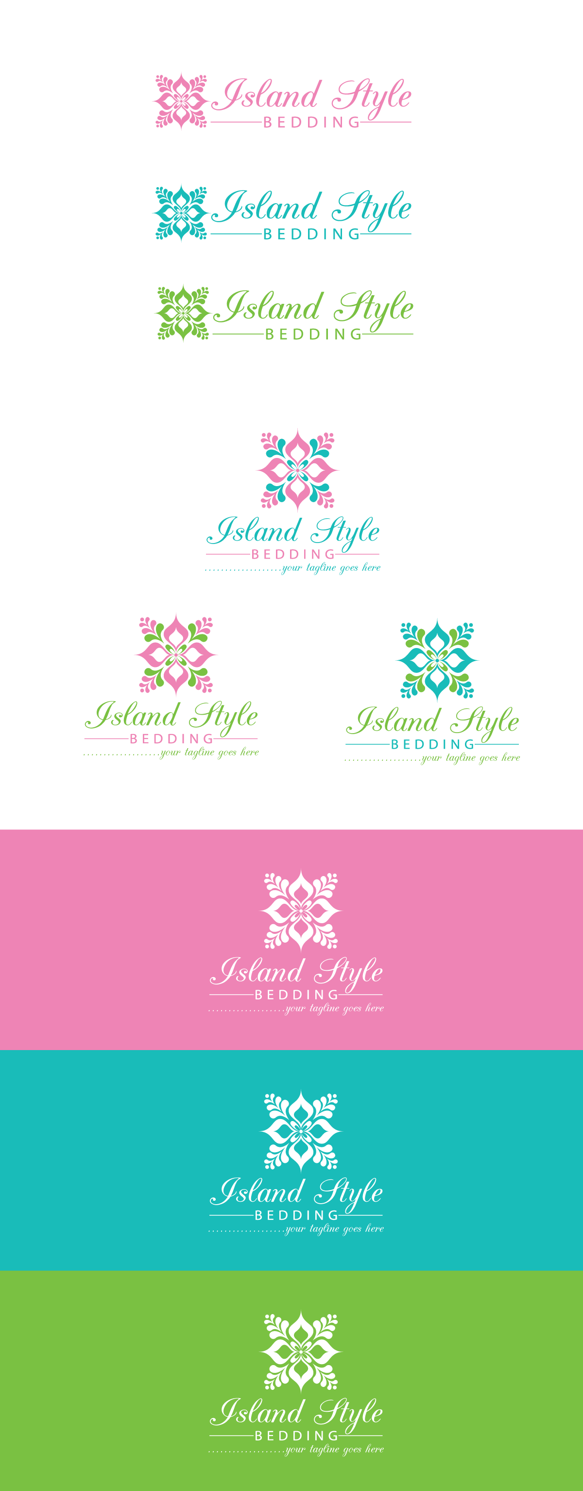 Create a Hawaiian/island inspired logo primarily for bedding, table & home decor
