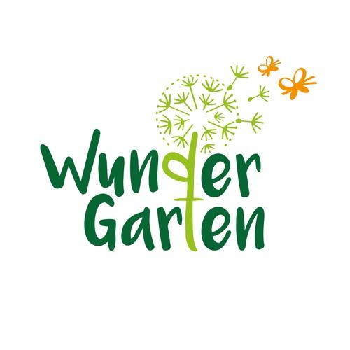 Zauberhaftes Logo mit Pusteblume und Schmetterlingen für eine Kindertageseinrichtung
