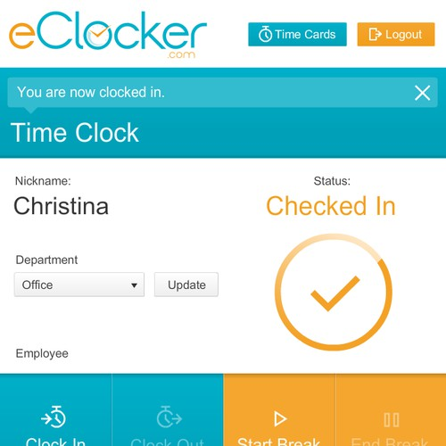 1 Page Simple Web Design for eClocker - Employee Time Tracking Service