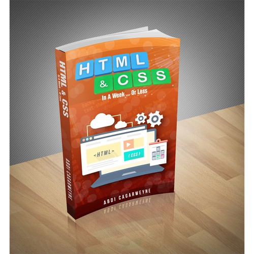 Design an eye catching book cover for learning how to code with HTML & CSS