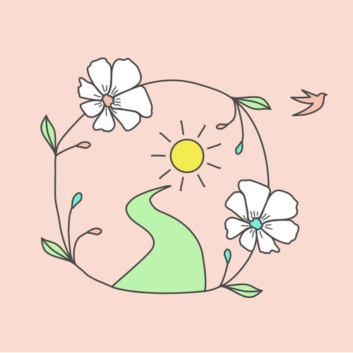 Empowering flowery and joyful logo concept for abuse survivors program