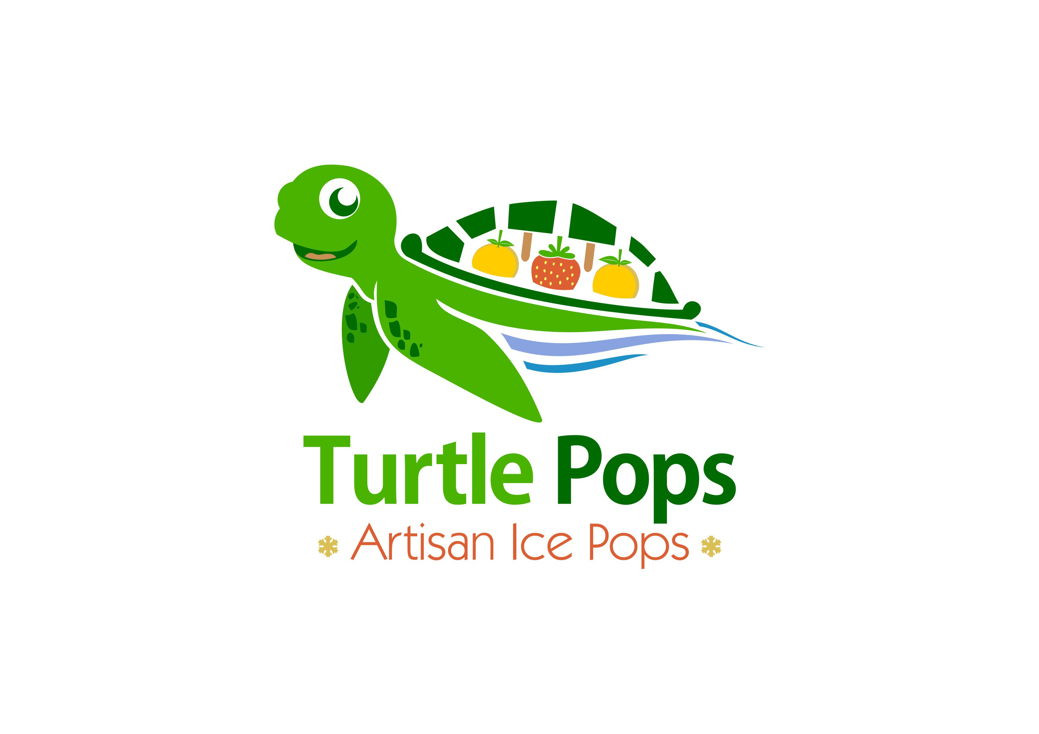 Create a fun sea turtle icon incorporating our company name, Turtle Pops